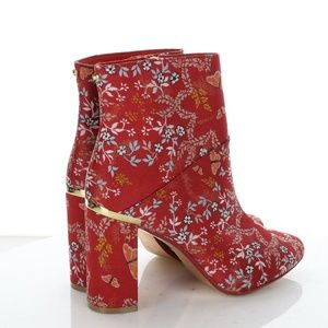 TED BAKER KYOTO RED TEXTILE BOOTIES 39 M US 8.5